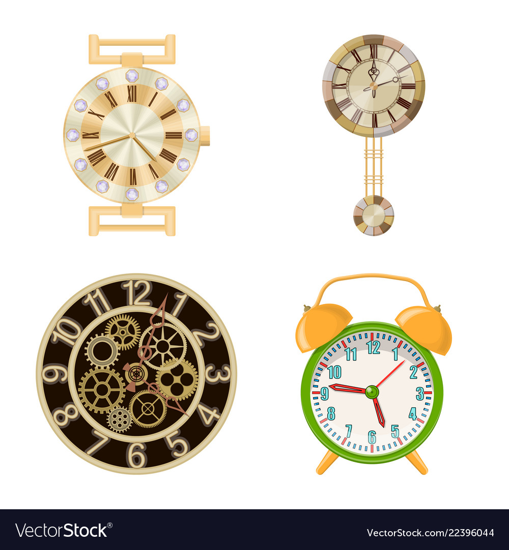 Clock and time icon set of