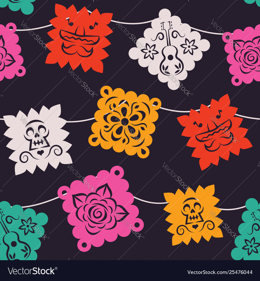 Mexican party paper flag seamless pattern