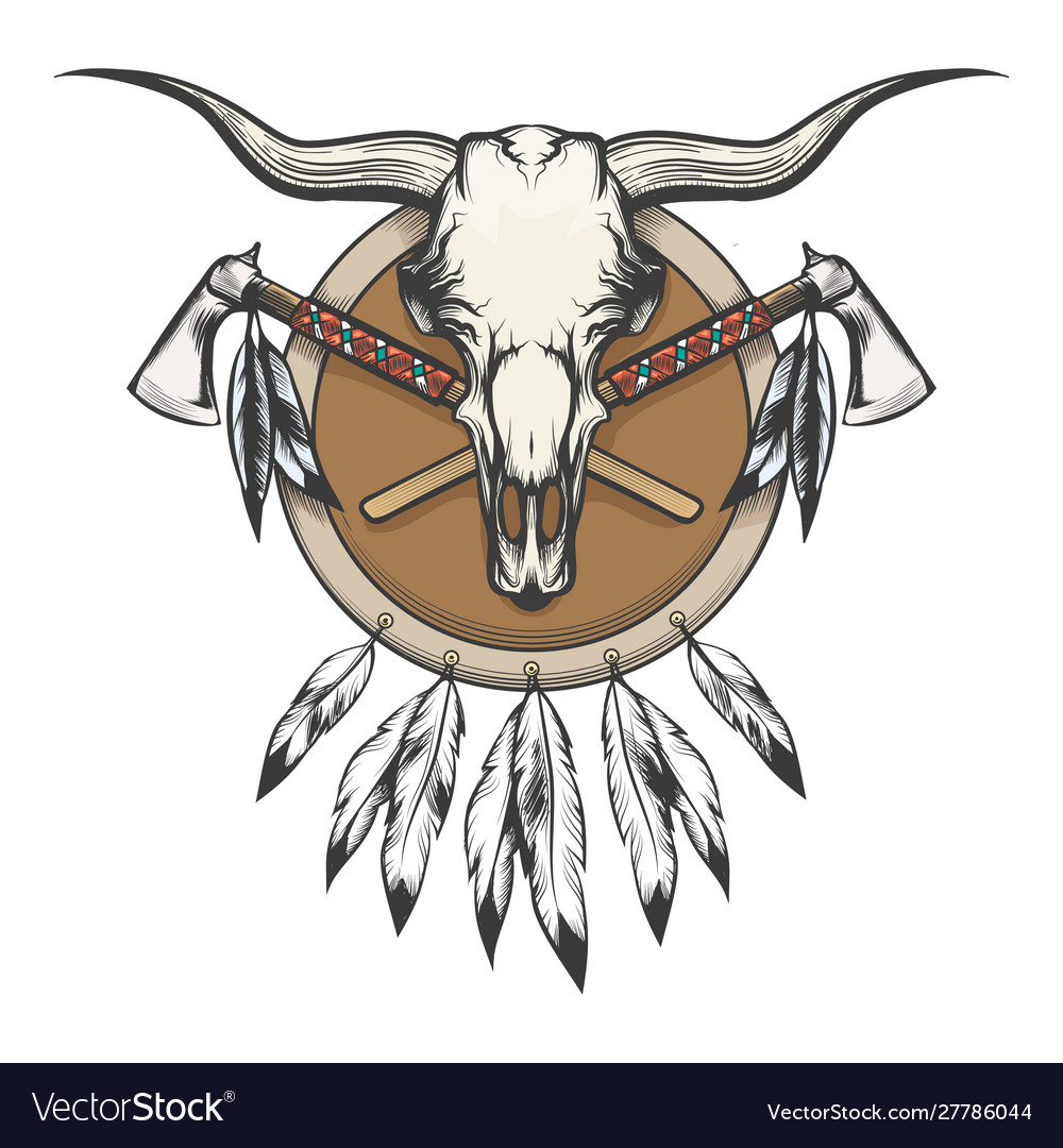 Native americans emblem with bull skull and