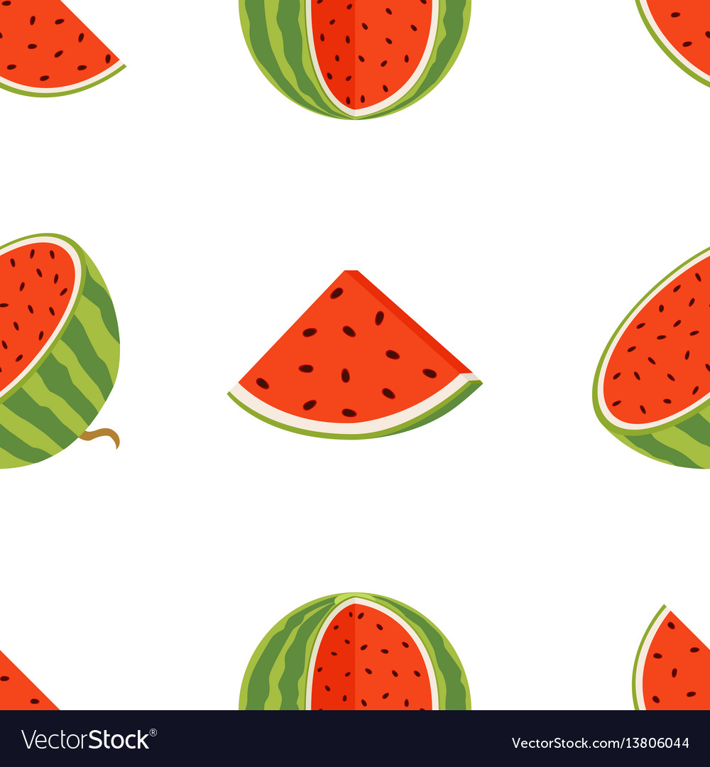 Pattern of juicy whole watermelons and slices in vector image