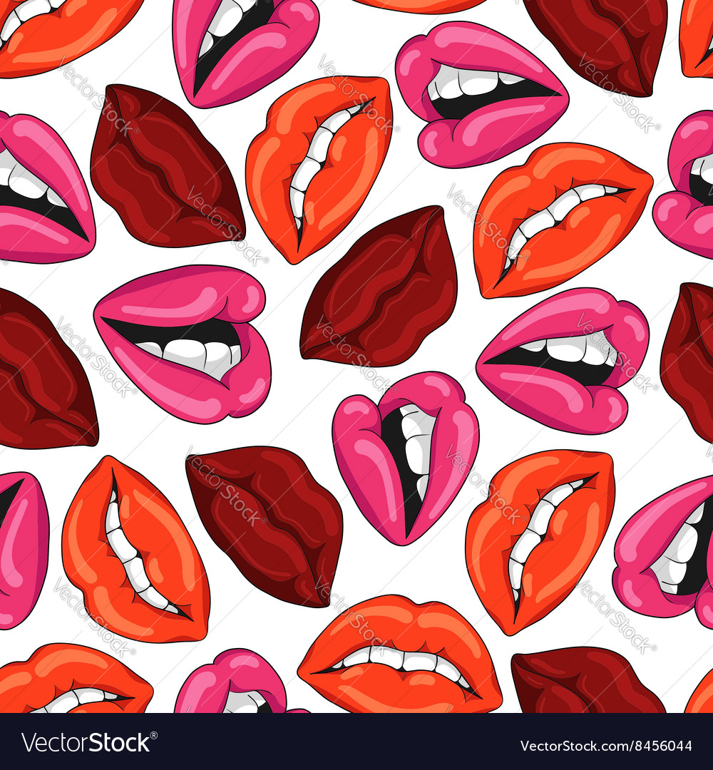 Pattern with sexy red lips