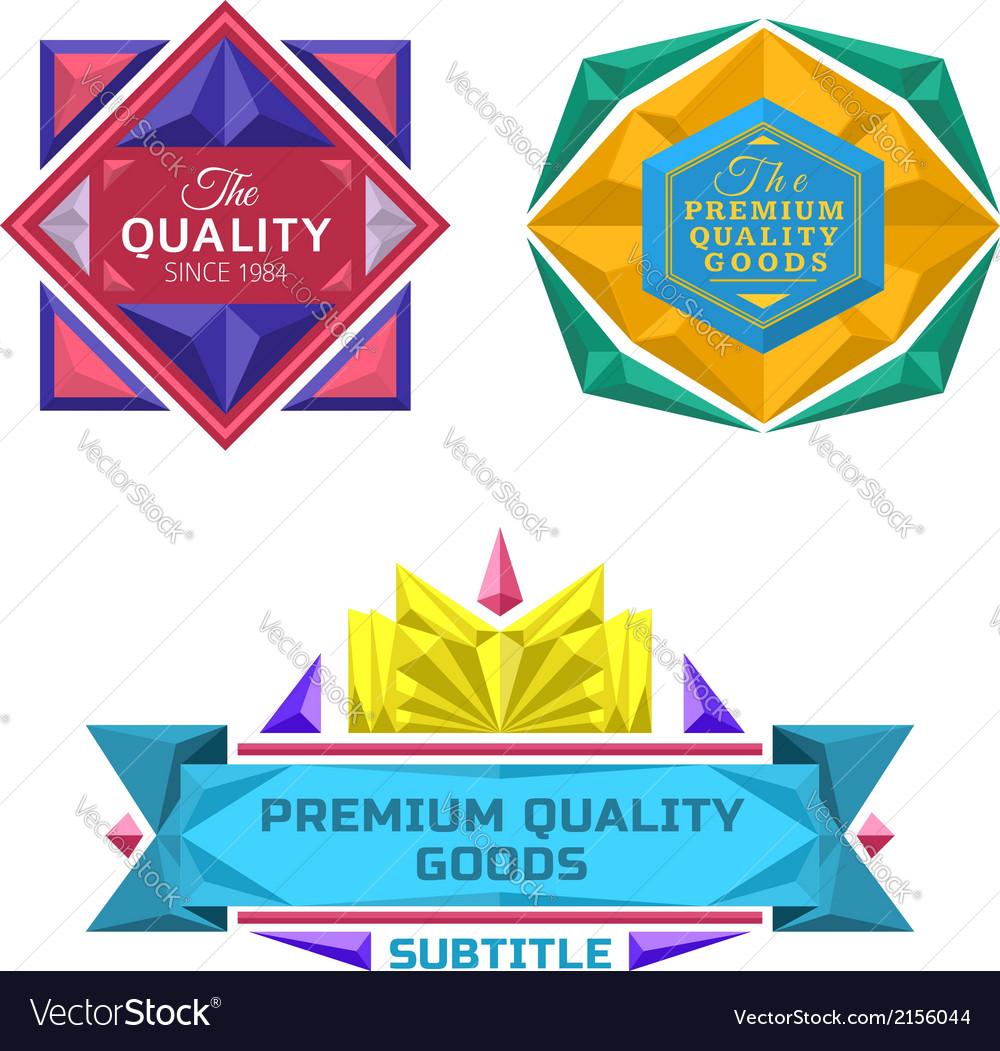 Set of retro badge jewel labels and logo