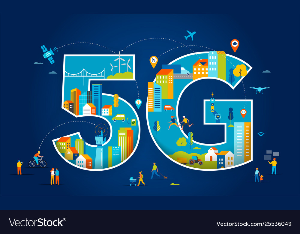 5g flat people with mobile