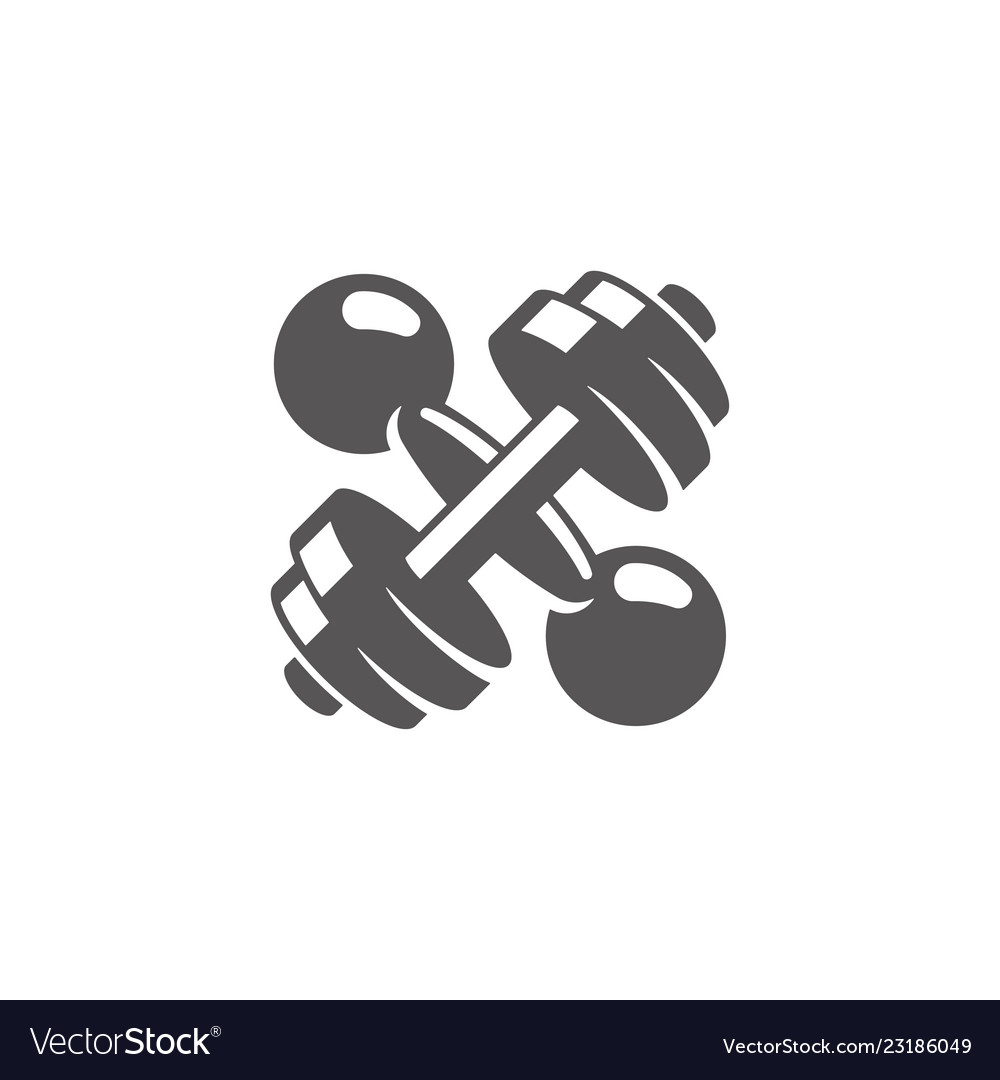 Crossed dumbbells silhouette isolated on white