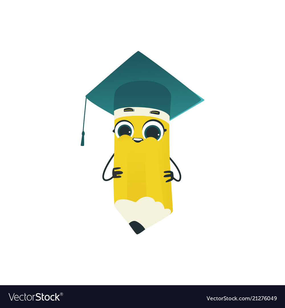 Cute pencil cartoon character in square academic