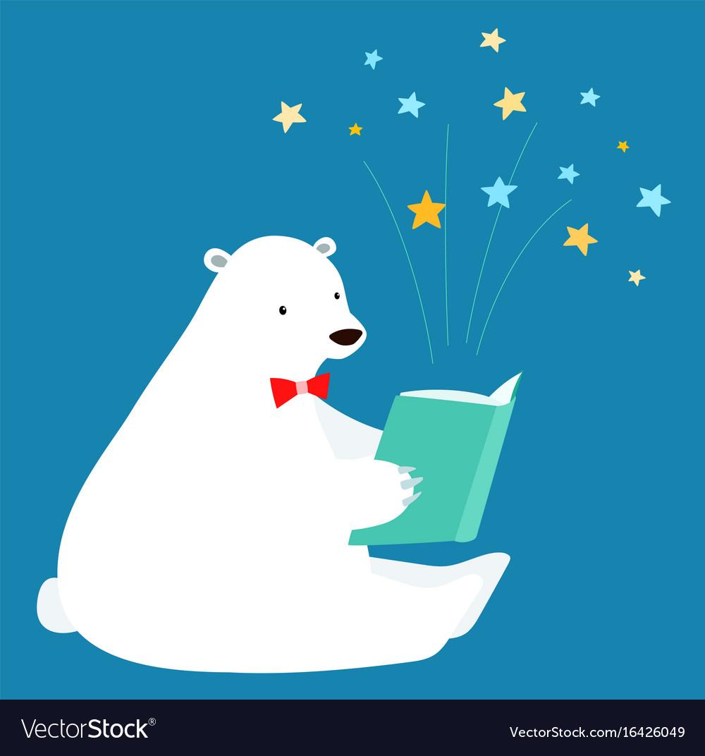 cute polar bear reading a book royalty free vector image