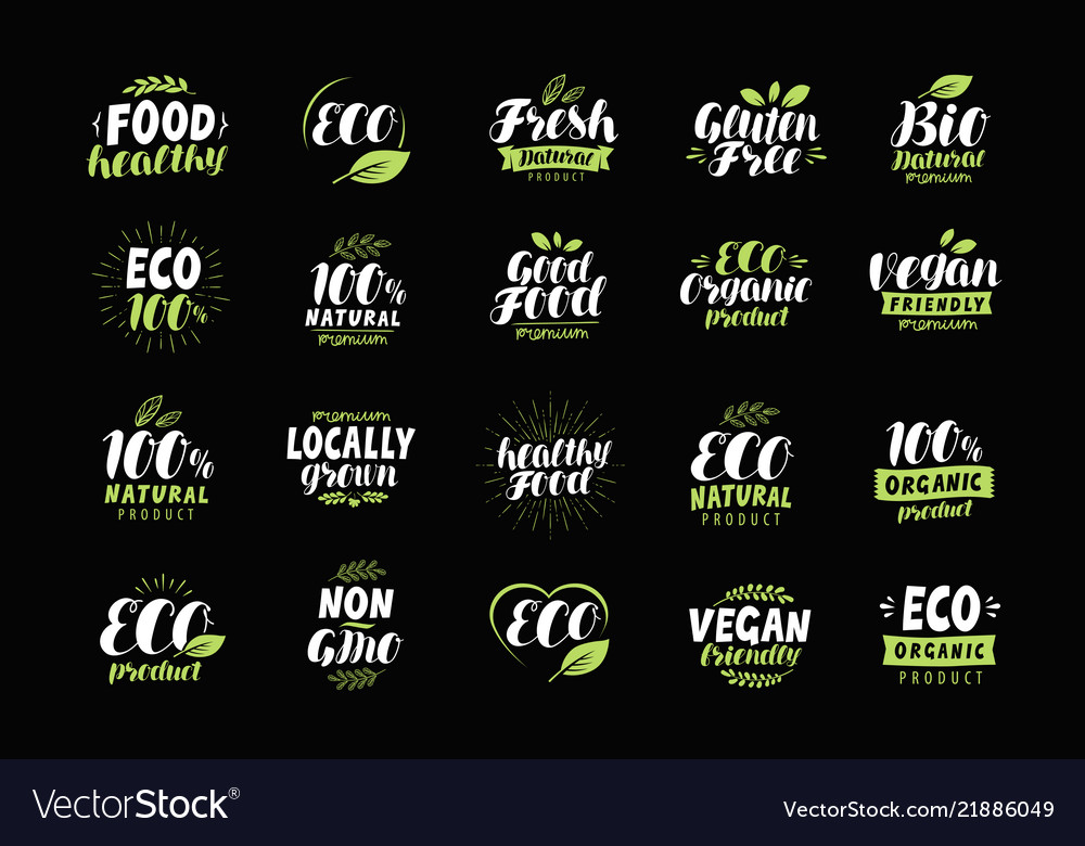 Eco label or logo set of healthy natural organic