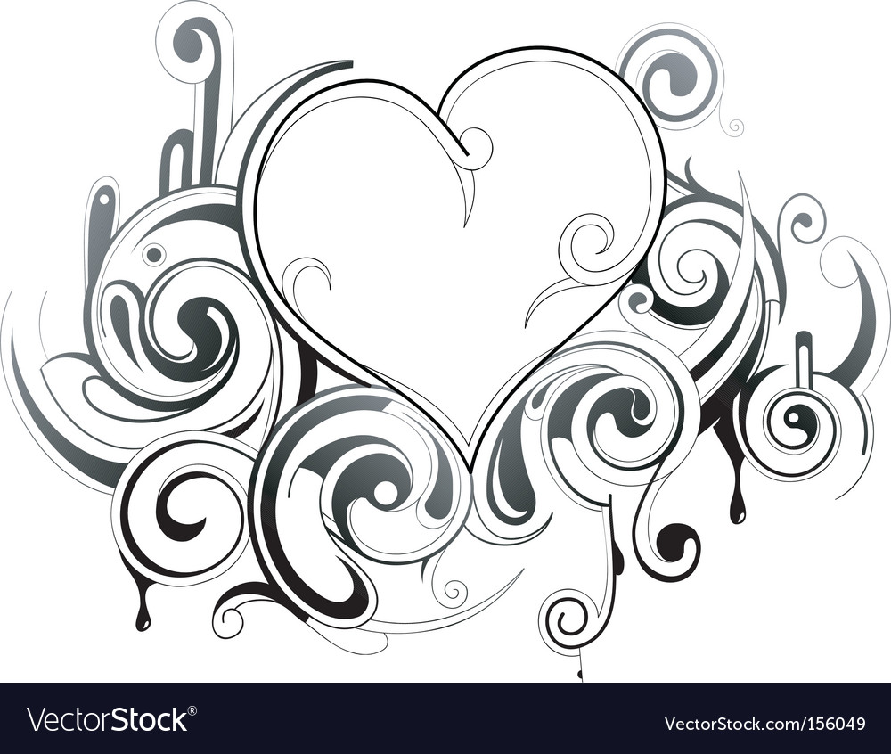 Floral heart tattoo vector image