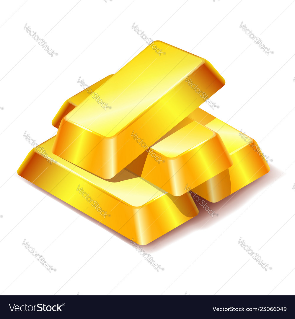 Four gold bars icon isolated on white background