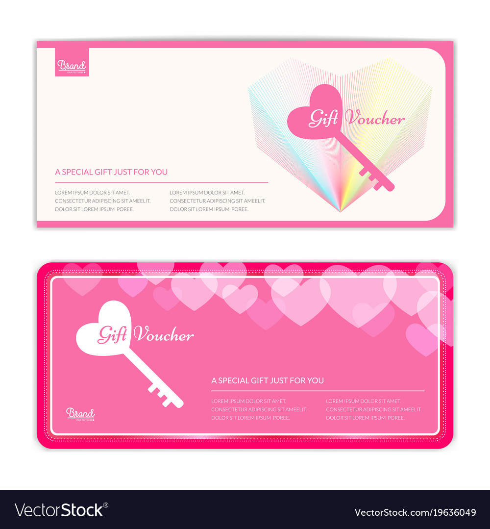 love and sweet theme gift certificate voucher vector image