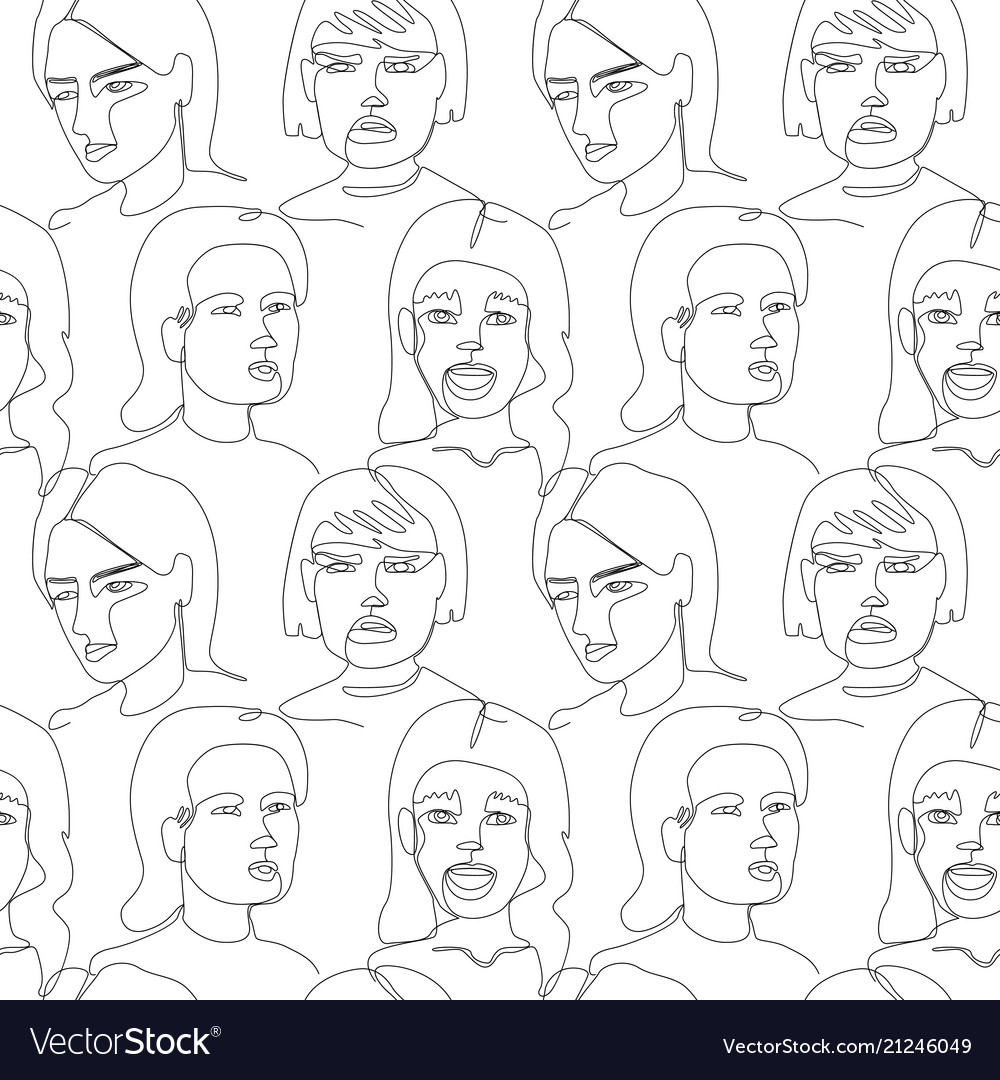 Seamless pattern with woman faces one line art