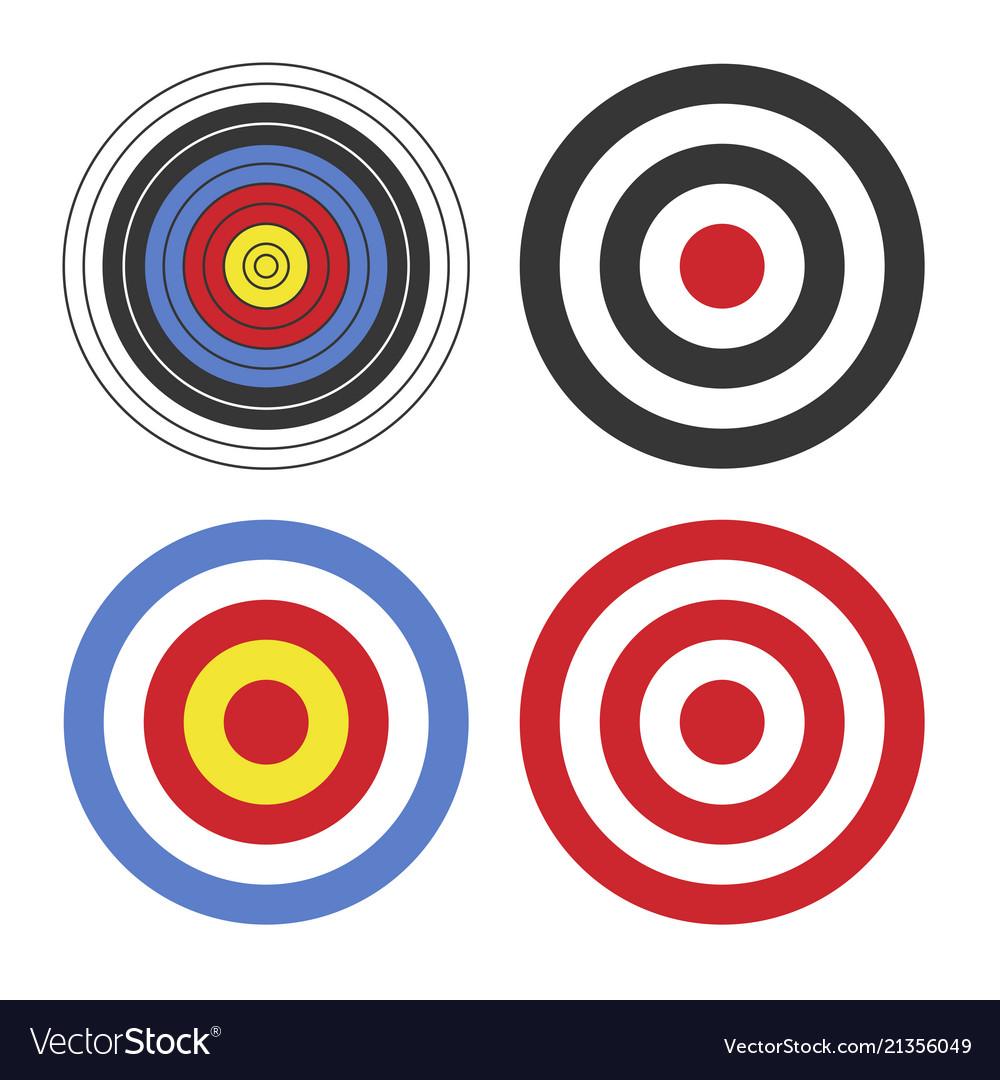 Shooting target icon set on white background