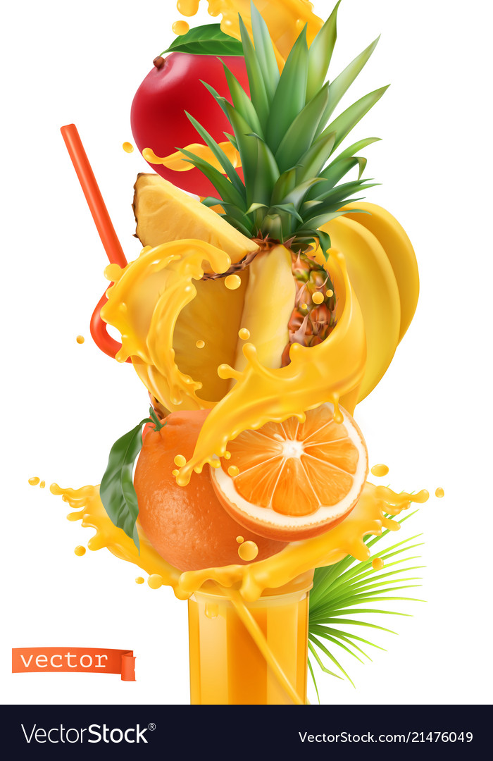 Splash of juice and sweet tropical fruits mango