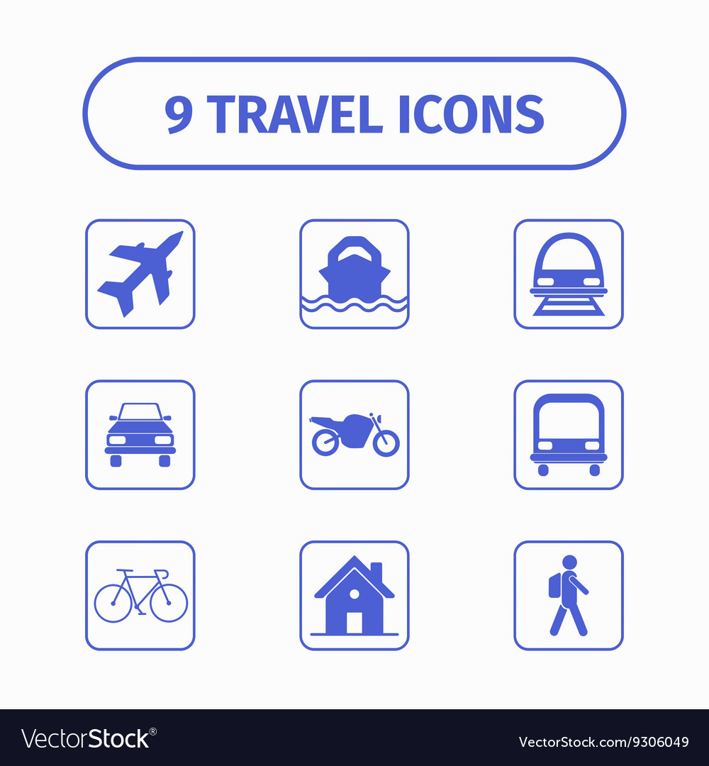 Travel and transport icon set for Web and Mobile