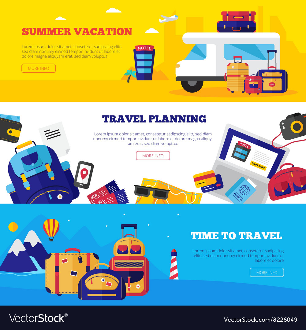 Travel Banner Set vector image