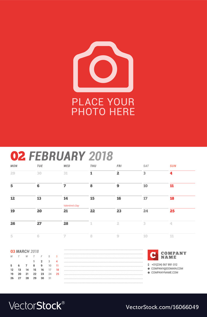 Wall calendar planner for 2018 year february vector image