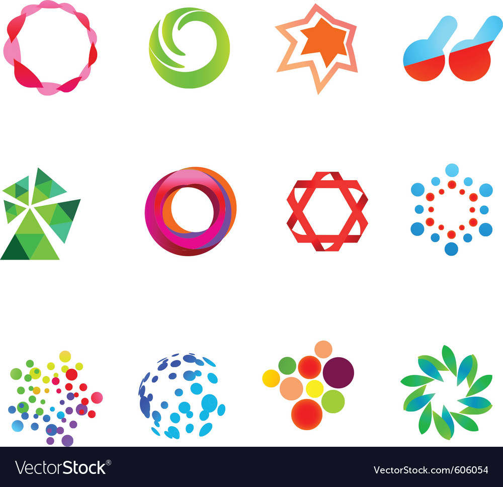 12 colorful symbols set 21 vector image