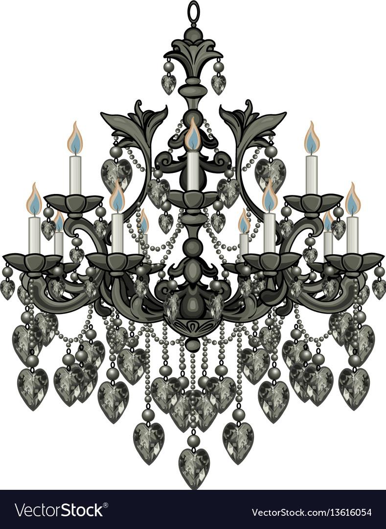 Baroque black chandelier vector image