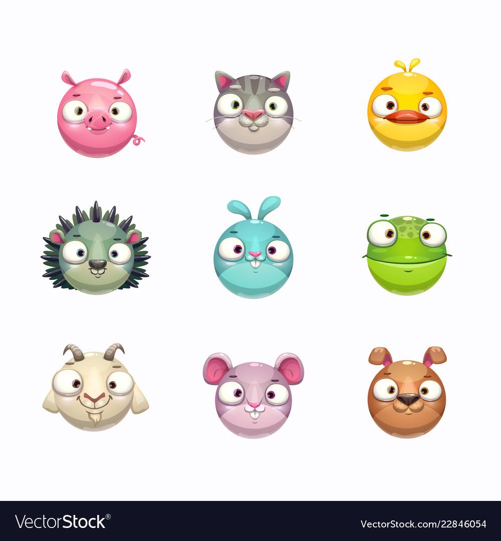 Cute cartoon animal face icons set isolated on