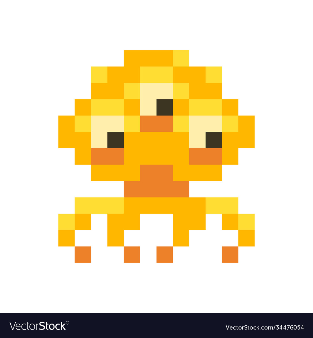 Cute orange space invader monster game enemy in
