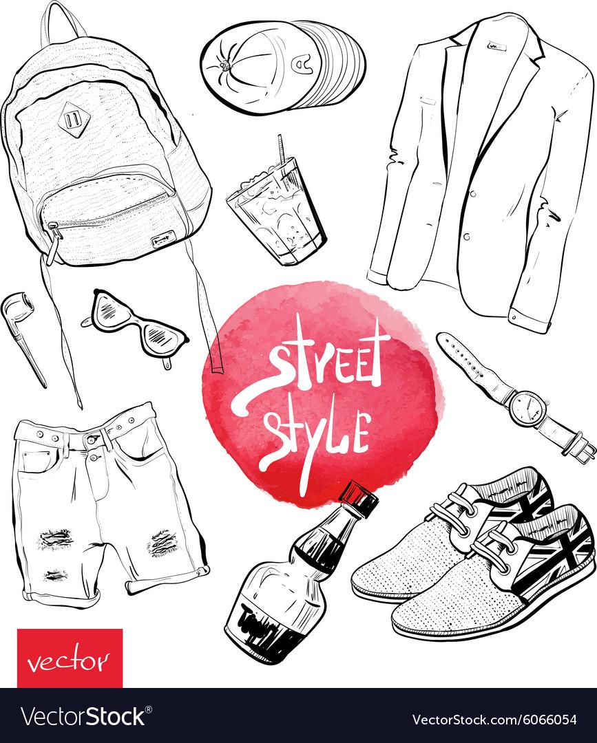Fashion set of trendy look