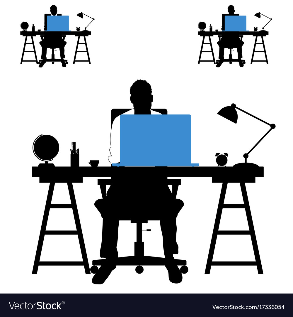 Man silhouette set with laptop and desk vector image