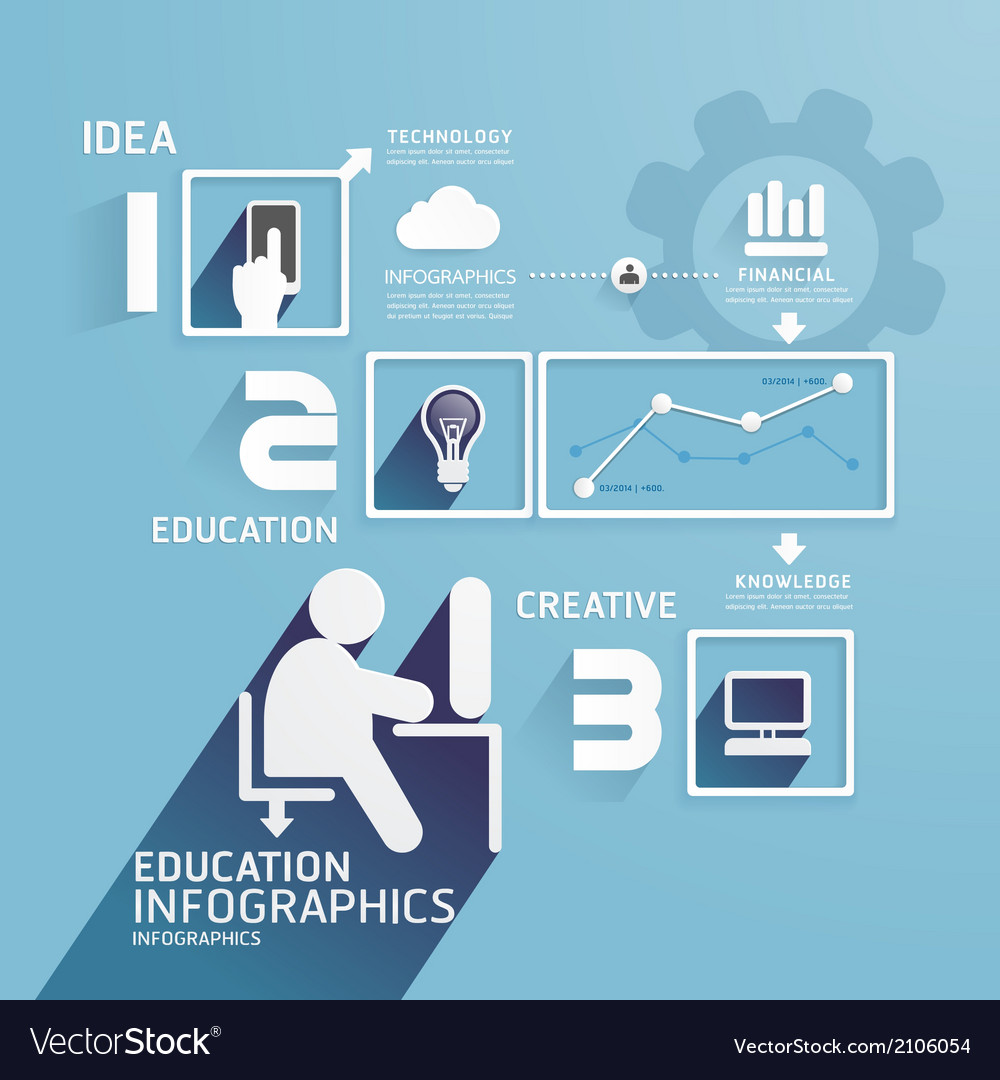 Modern Design Education infographic paper cut