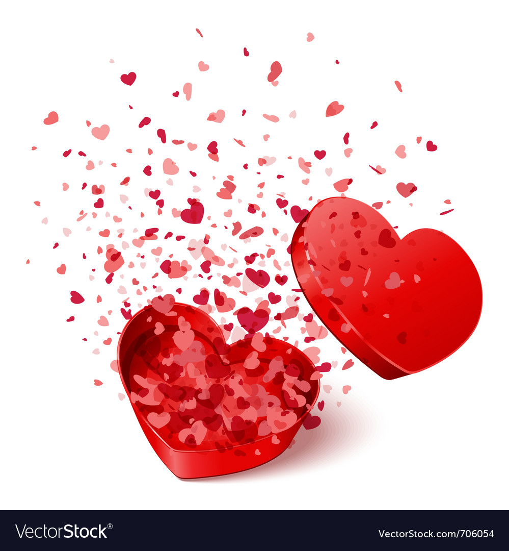Open heart gift with fly hearts vector image