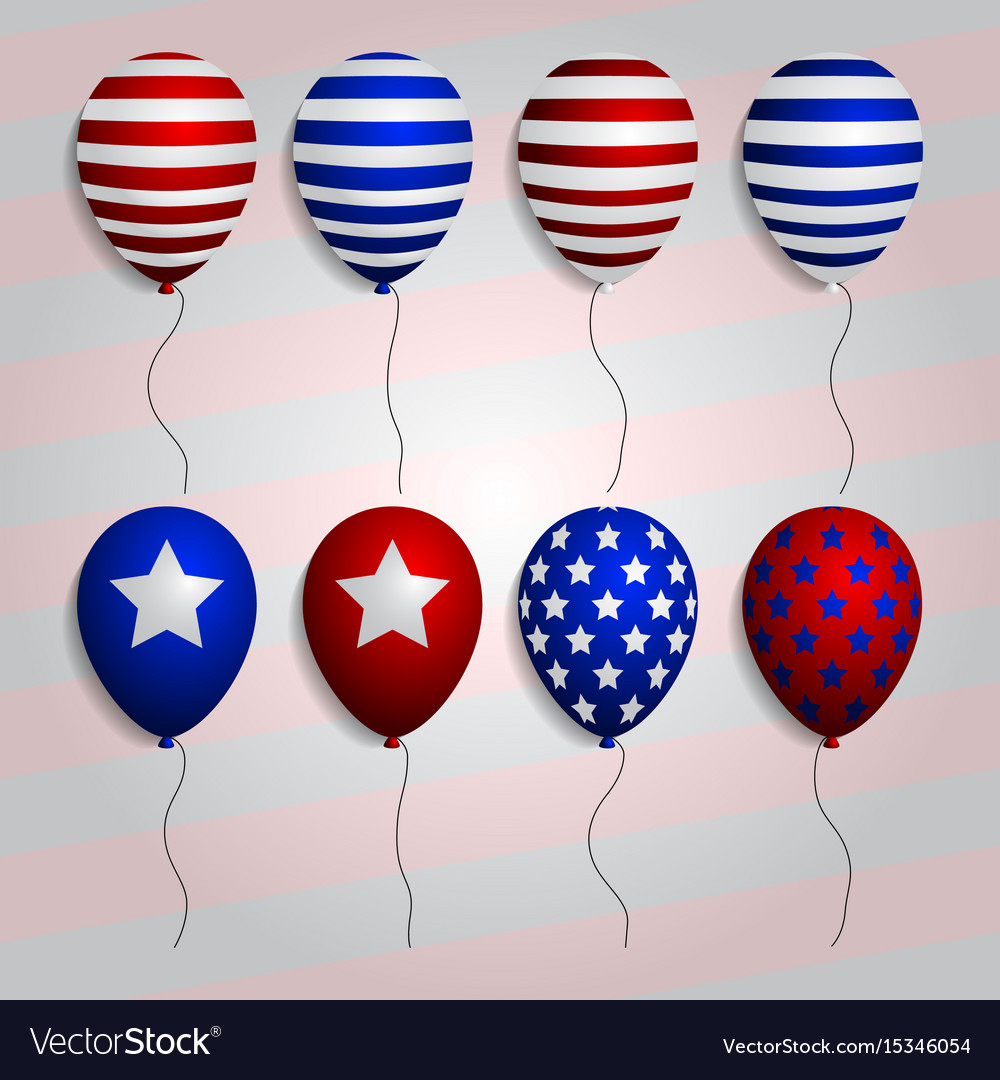 Realistic set balloons with american patriotic