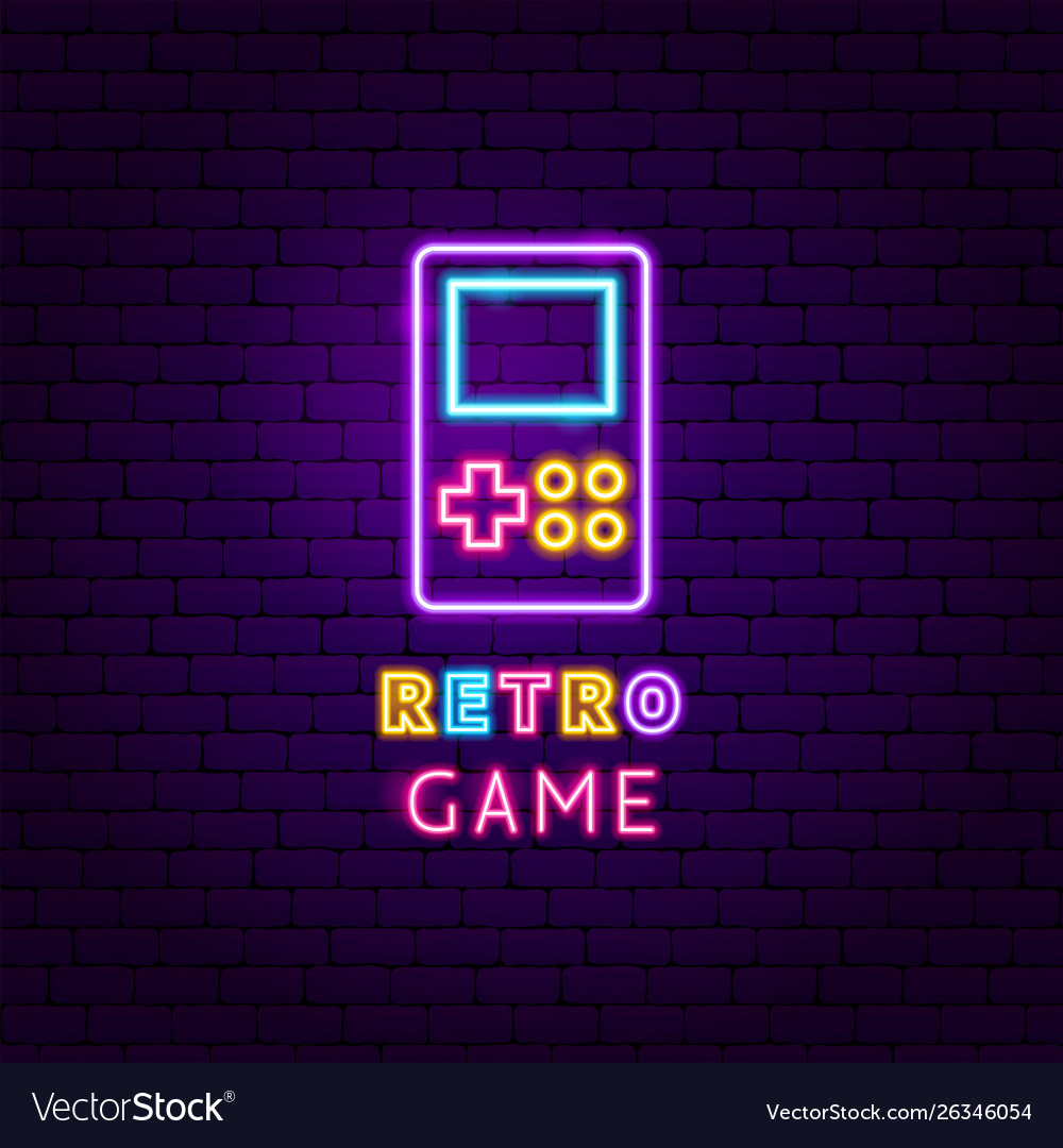 Retro game neon label