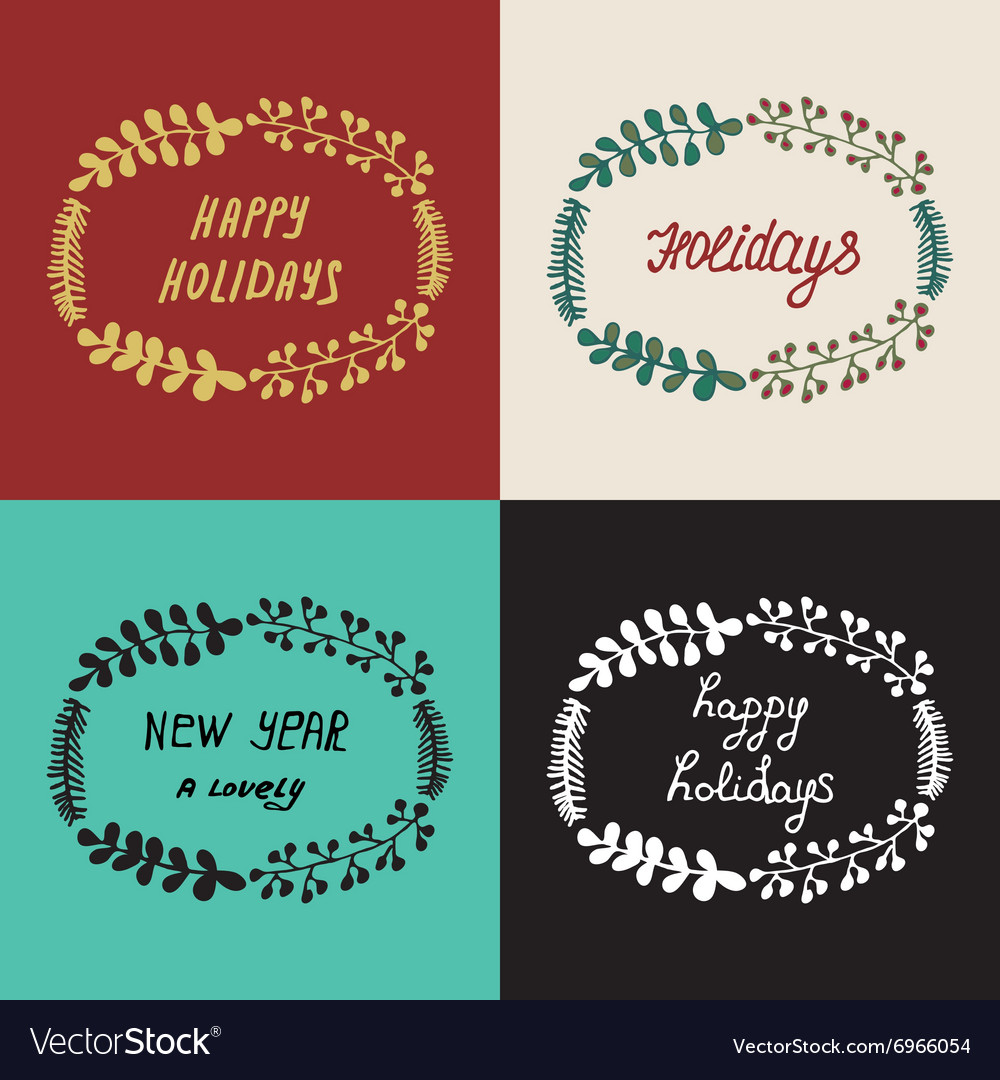 Set Christmas wreath hand drawn fir tree branches vector image
