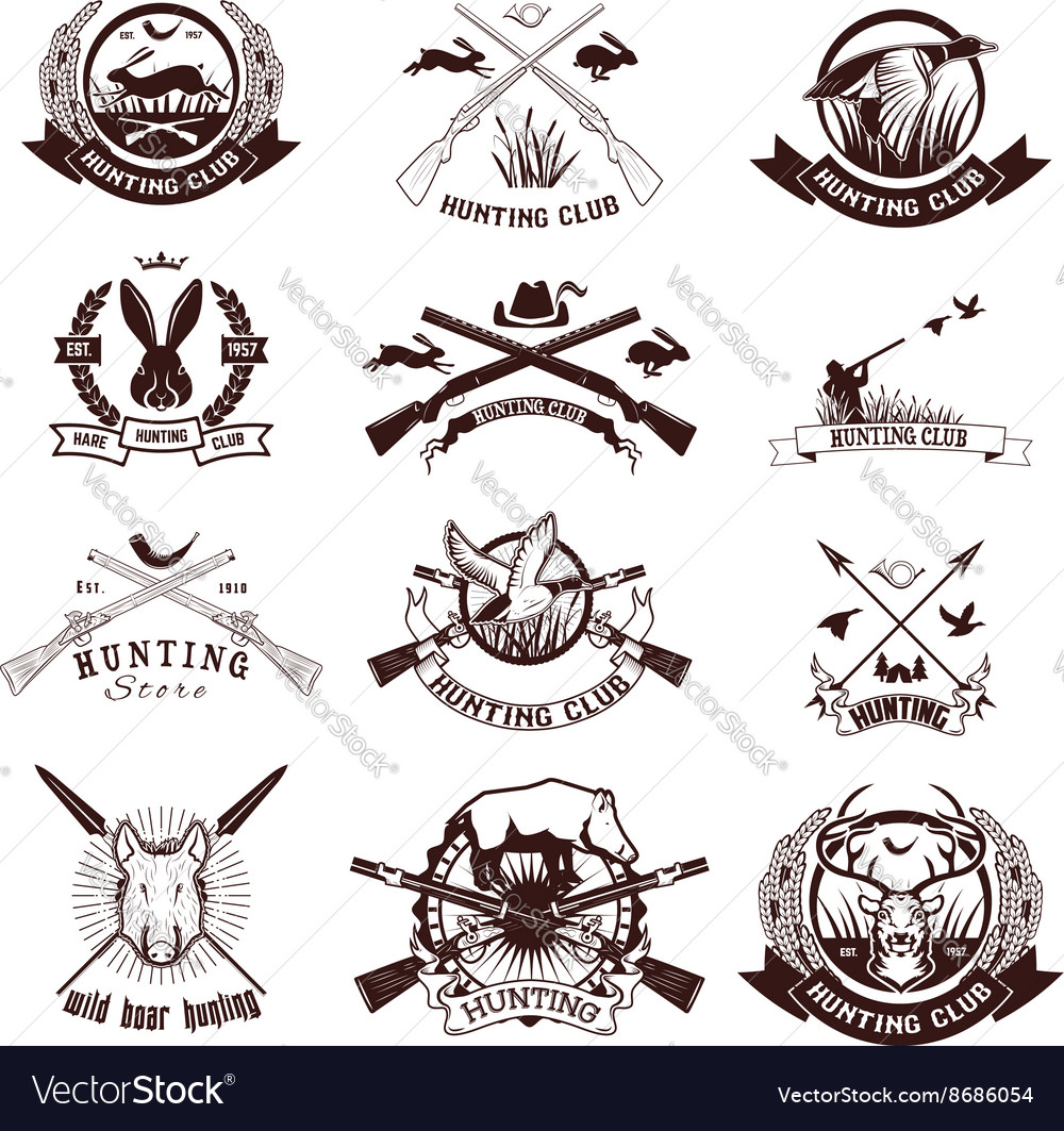 Set of hunting labels emblems and design elements