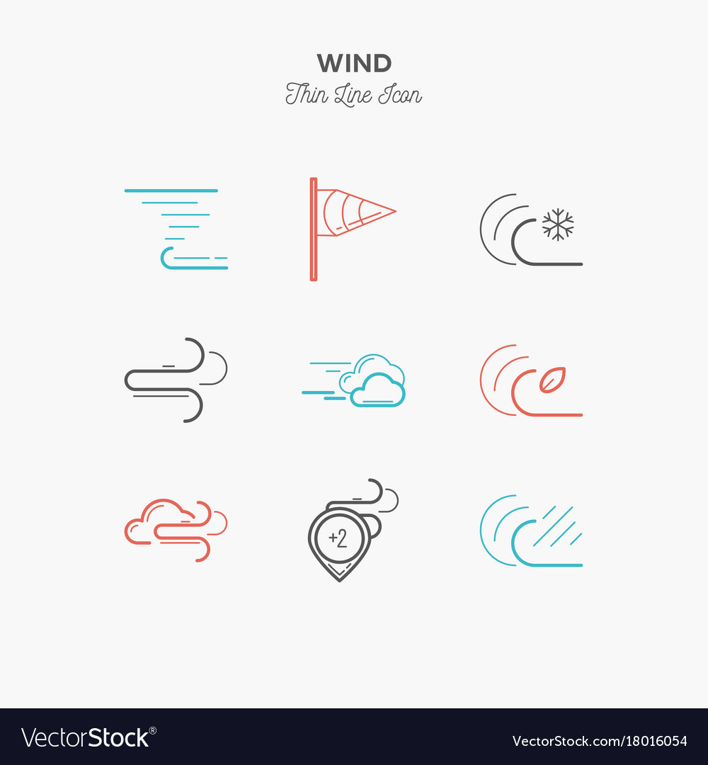 Wind hurricane tornado and more thin line color