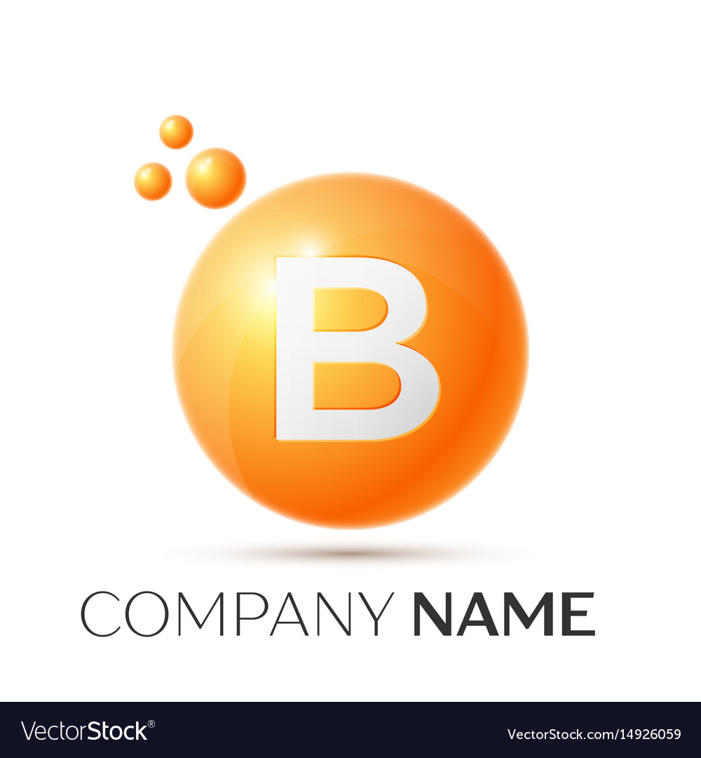 B letter splash orange dots and circle bubble