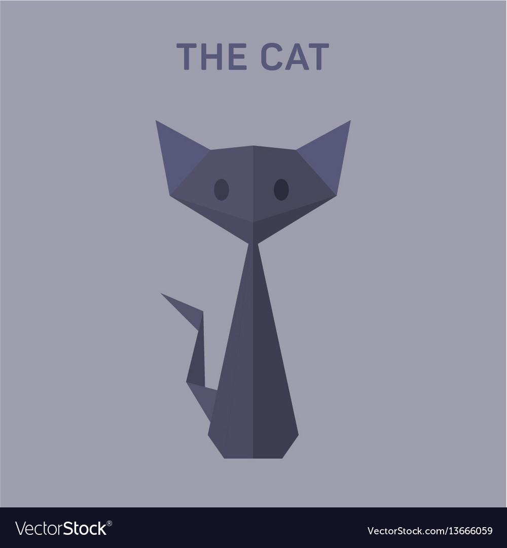 Cat animals origami flat low