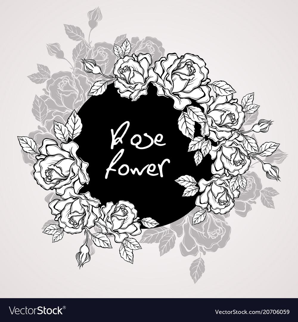 Hand drawn rose flower wreath vintage style