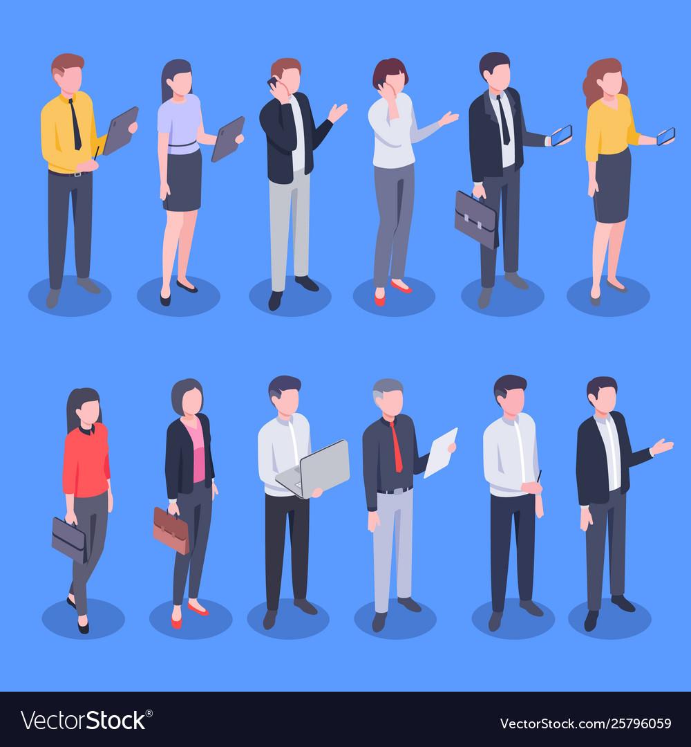 Isometric business office people bank employee