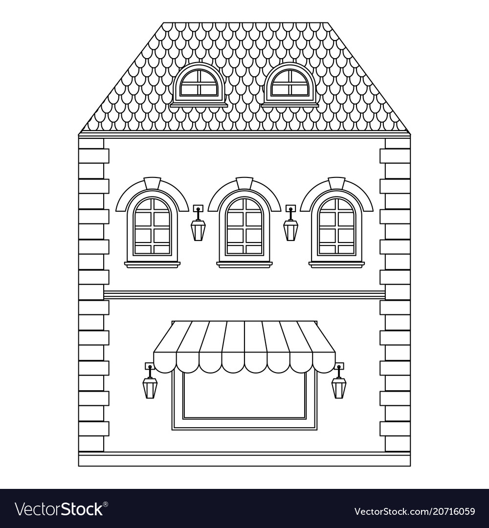Old european house with store on the ground floor