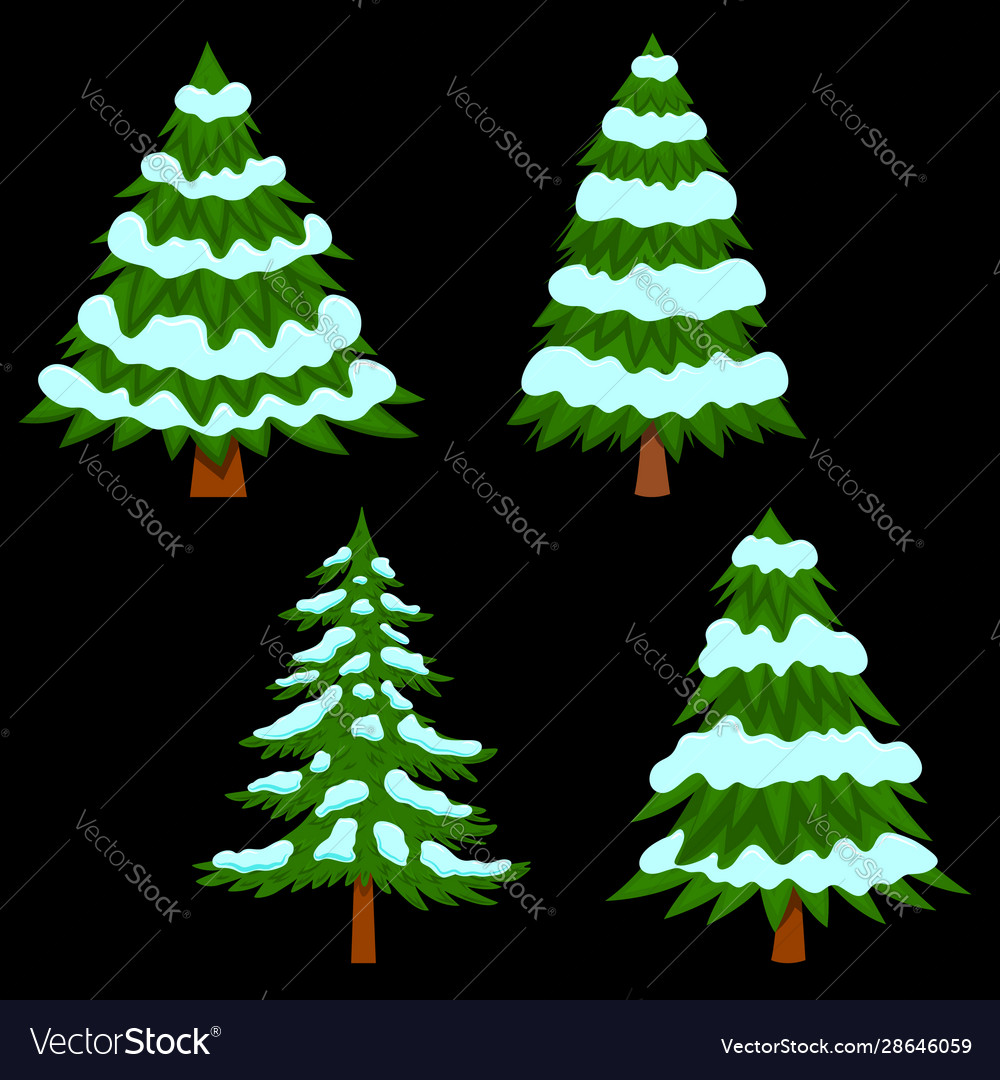 Set pine tree with snow in cartoon style