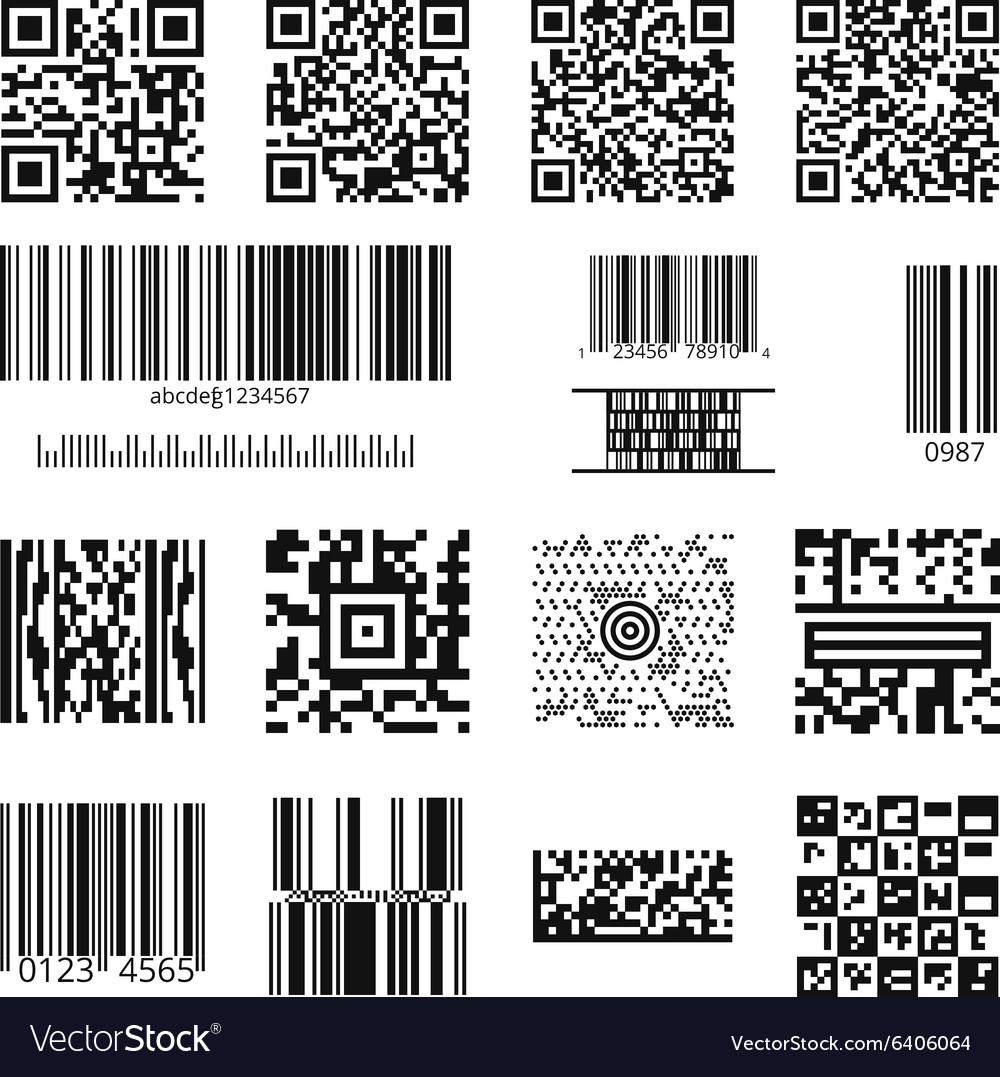 Barcodes and QR codes set