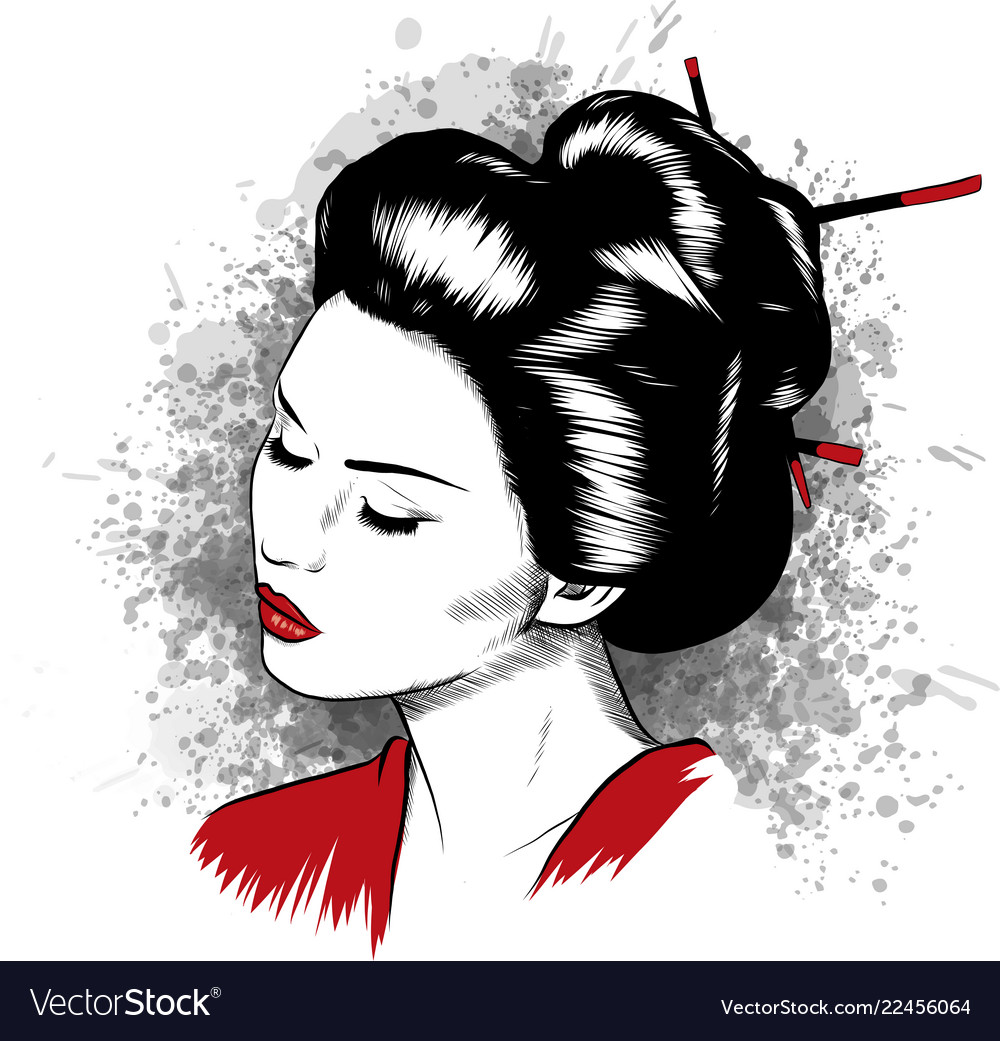 Beautiful japanese geisha holds red fan Royalty Free Vector