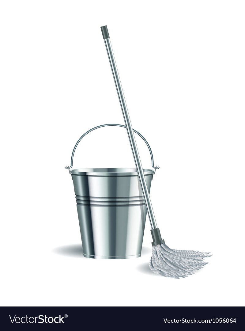 Bucket and mop on white background