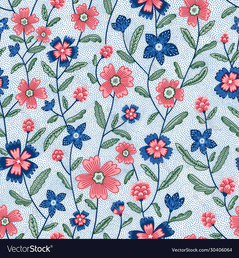 Chintz flowers seamless pattern