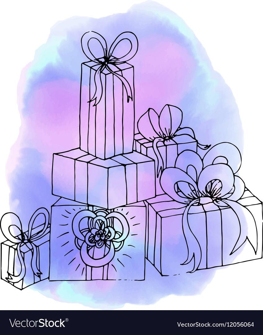 Christmas gifts Birthday gift Abstract vector image