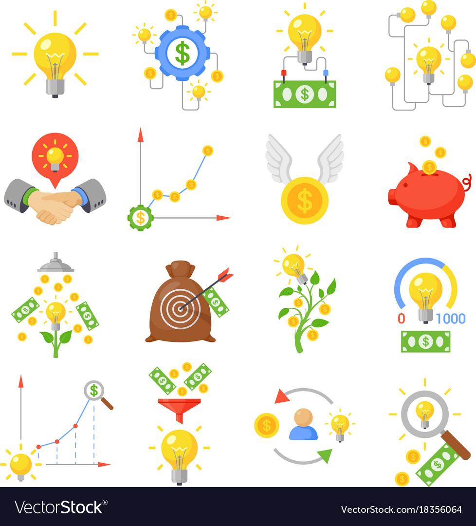 Crowd funding icon set vector image