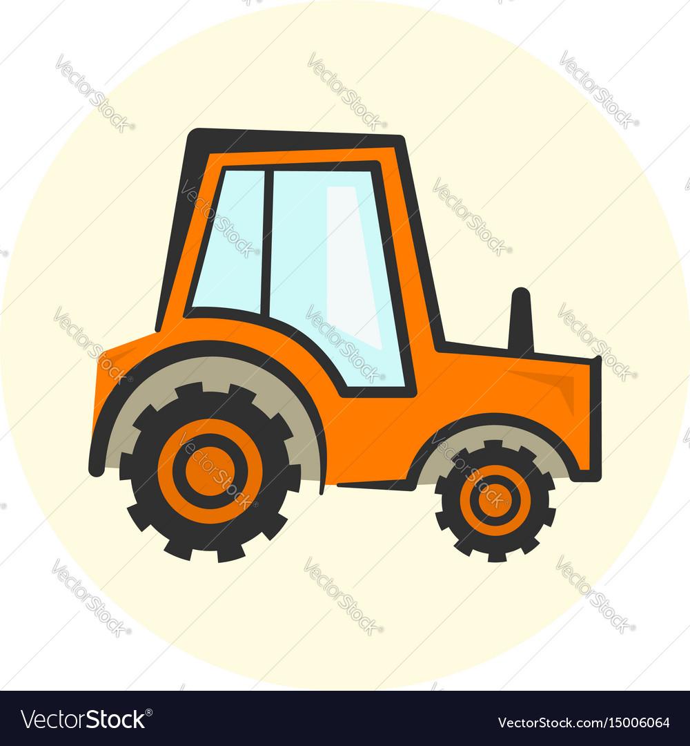 Cute cartoon colorful tractor icon