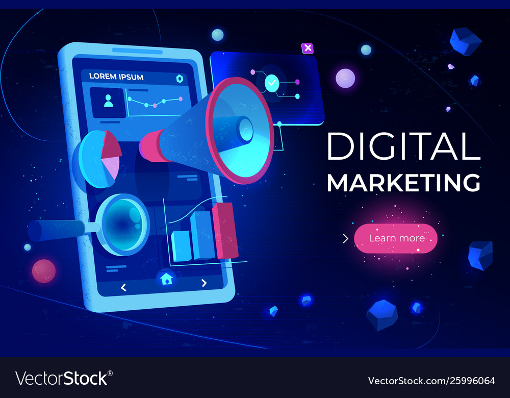 Digital marketing landing page smartphone screen