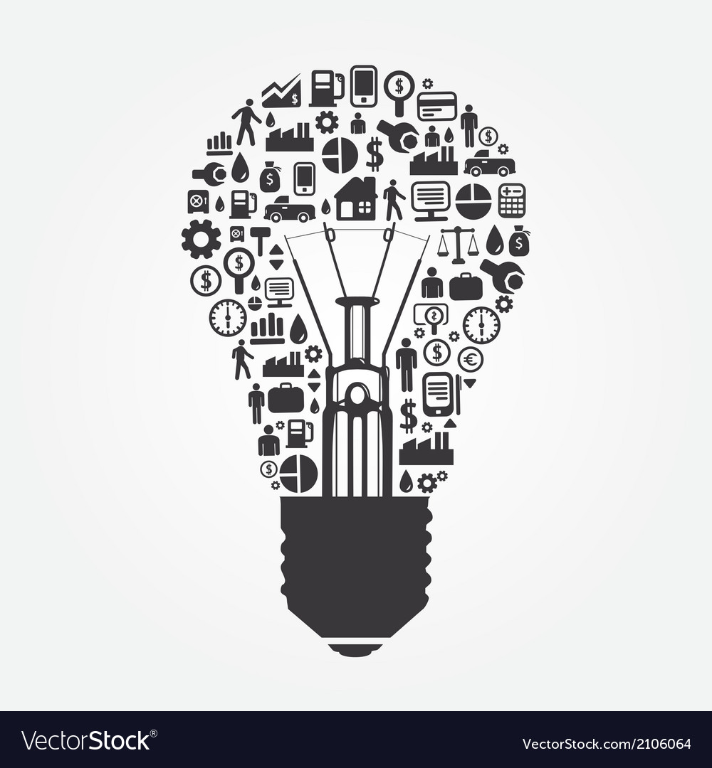 elements are small icons make in light bulb vector image rh vectorstock com light bulb factory bury st edmunds light bulb victorian invention