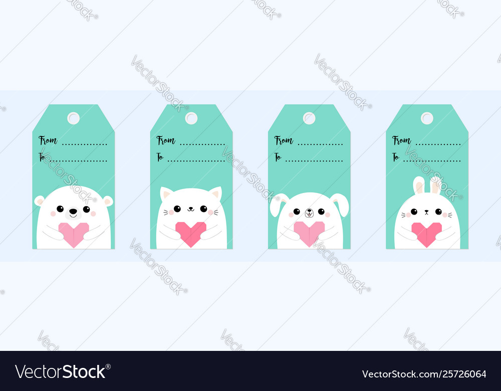 Happy valentines day gift tag set bear rabbit