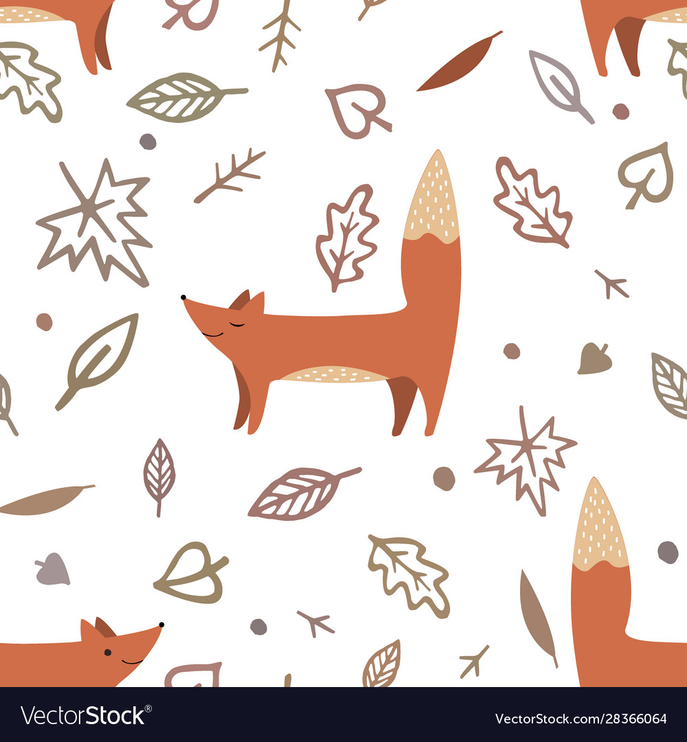 Lovely seamless pattern with cute foxes and autumn
